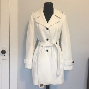 Calvin Klein White Faux Wool Trench Coat, S